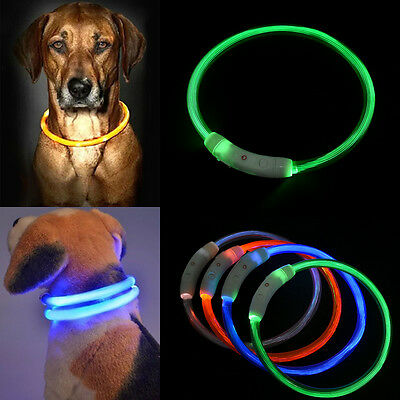 For Pet Dog Waterproof Rechargeable USB LED Flashing Light Safety Collar Leash
