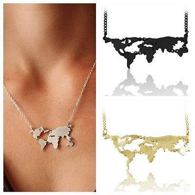 Stylish World Map Pendant Women Unisex Necklace Clavicle Chain Travel Choker