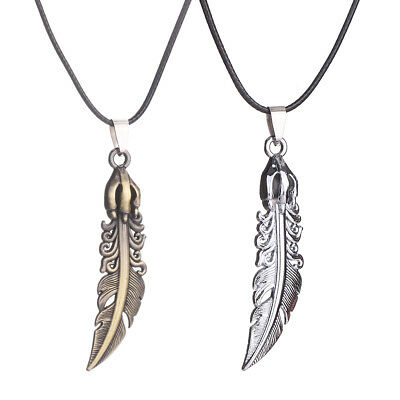 Hot Fashion Jewelry Unisex's Men Stainless Steel Feather Pendant Necklace Chain
