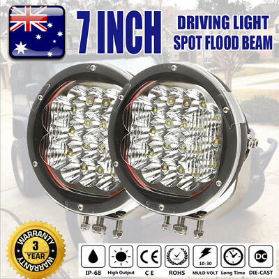 2x 7 inch 3600W LED Driving Light HID Spot Flood Combo Offroad Round Work Lamp