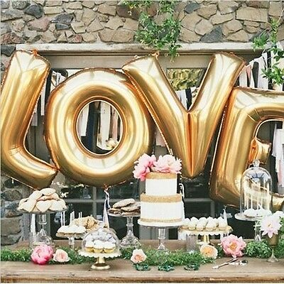 New LOVE Helium Foil Ballons Letter Baloon Wedding Party Valentine Gold/Silver