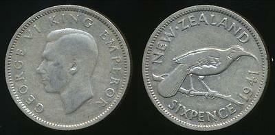 New Zealand, 1941 Sixpence, 6d, George VI (Silver) - Fine
