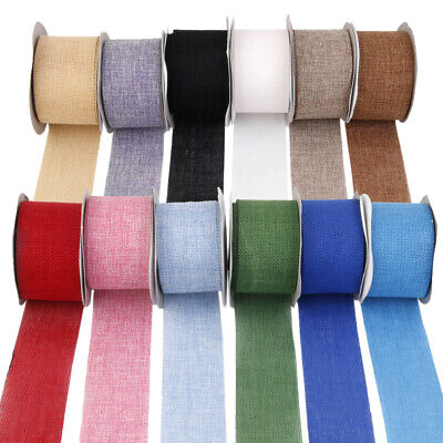 Faux Burlap Hessian Jute Bow Tape Craft Gift Wrap Rustic Wired Ribbon 12 Colors