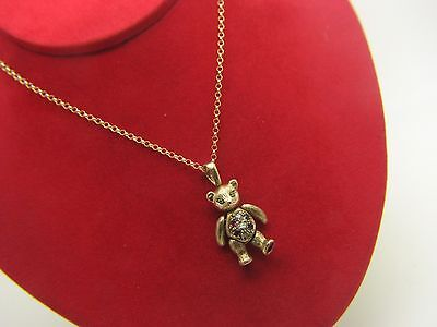 9ct 9carat Yellow Gold 18 Inch Chain & 'Teddy Bear' Pendant with 7 Stones