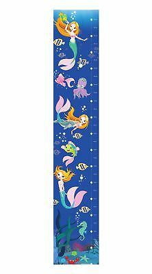 Mermaid Under Sea Bedroom Boy Girl Kids Tall Canvas Height Chart Hc001