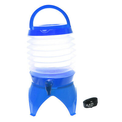 Travel Portable 5L Water Container Collapsible Folding Drink Dispenser Blue