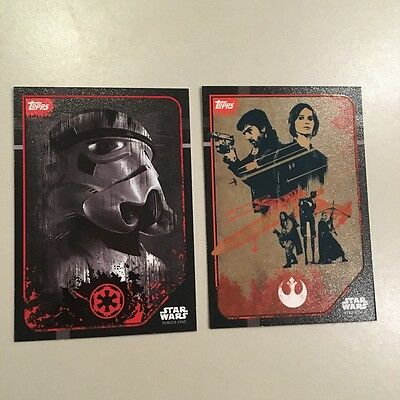 Star Wars - Rogue One (TOPPS collector cards) 2 x Sticker Art Insert Cards Lot