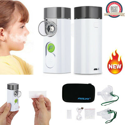 Handheld Ultrasonic Nebulizer Micro Mesh Nebuliser Inhaler Rechargeable 2 Masks