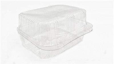 50 x CLEAR PLASTIC DISPOSABLE BOXES 140mm x 100mm x 80mm PASTRY CAKE FISH SALAD