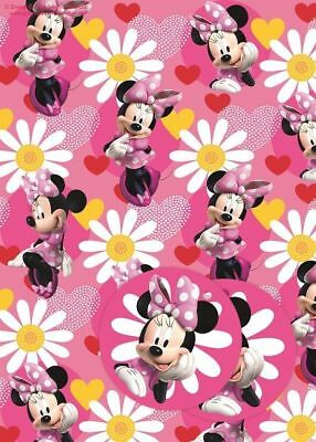 Minnie Mouse Flowers 2 Sheets Of Gift Wrap And 2 Gift Tags New Gift