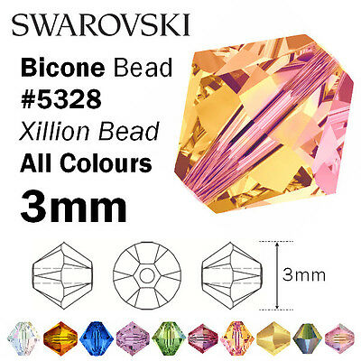 Swarovski 3mm Bicone #5328– Genuine Swarovski Crystal Bead – all colours
