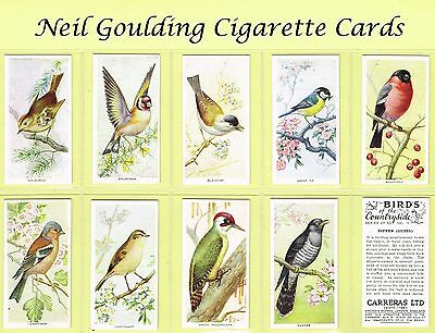 Carreras - Birds of the Countryside 1939 #1 to #50 Cigarette Cards