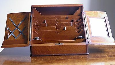 Antique Oak Stationery Cabinet or Writing Box