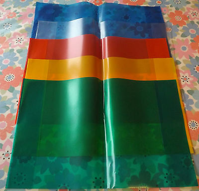 PLASTIC BOOK COVERS SET OF 5 COLOURS. 227mm X 355mm. SCHOOL BOOKS/MAGAZINES.NEW