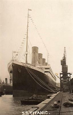 White Star Liner SS Titanic at Southampton unused RP old postcard