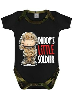 Daddy's Little Soldier Woodland Camo Black Baby Grow