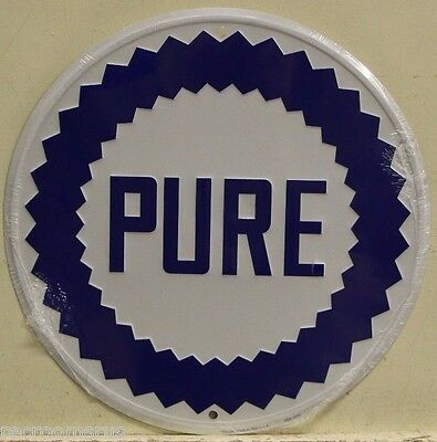 """PURE OIL CO. 24"""" Embossed Metal Sign gasoline motor oil service station gas"""