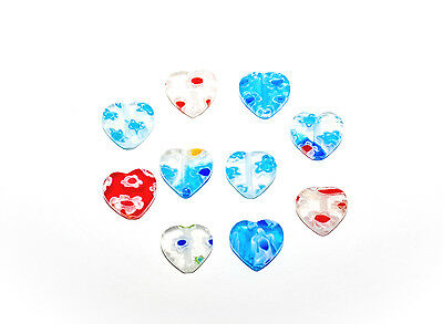 10 glass millefiori heart beads in assorted patterns and colours