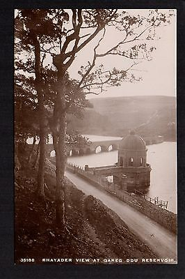 Rhayader view at Gareg Ddu Reservoir - real photographic postcard