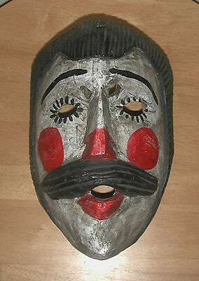 Antique Hand-carved Patzcar Dance Mask Patrón from Guatemala