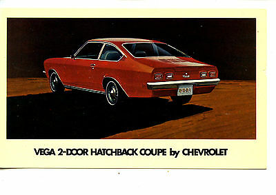 Chevrolet Vega Hatchback Couple Car-Vintage Automobile Advertising Postcard