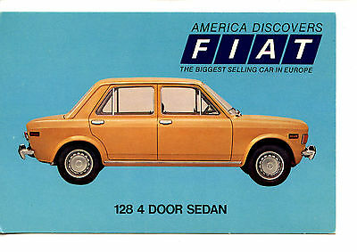 Fiat 128 4 Door Sedan Car-Vintage Automobile Advertising Dealer Postcard