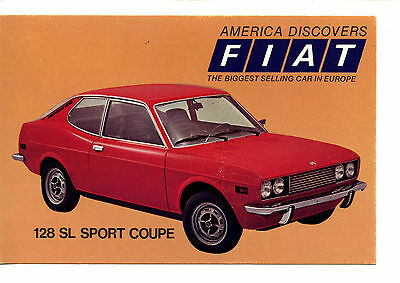 Fiat 128 SL Sport Coupe Car-Vintage Automobile Advertising Dealer Postcard