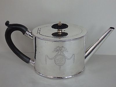 GEORGE III 18th CENTURY SOLID STERLING SILVER DRUM TEAPOT - LONDON 1781 - 470g