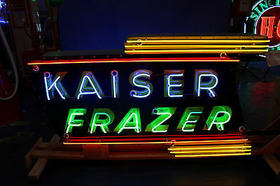 1940s-50s KAISER FRAZER Double sided Porcelain Neon COOK SIGN CO Dealership Sign