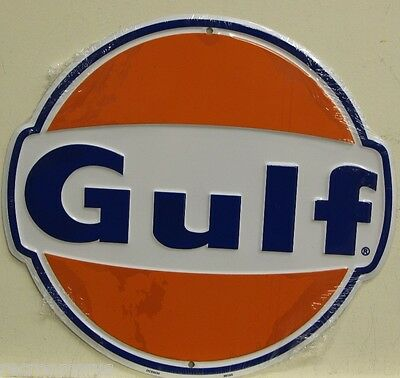 "GULF OIL 12"" die cut embossed metal sign gulf gas gasoline service auto oil"