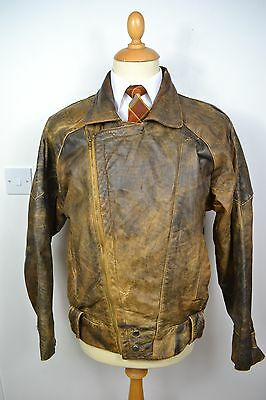 VINTAGE 1980's ENGLISH MADE BROWN LEATHER BOMBER JACKET BLAZER LARGE 42 REG