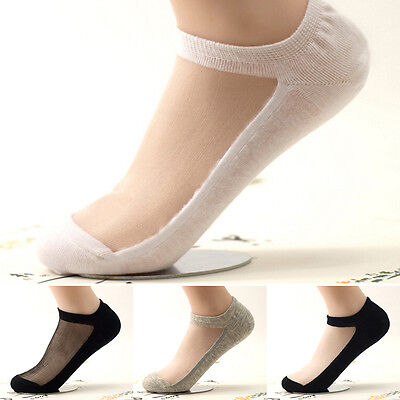 Ultrathin Transparent Beautiful Crystal Lace Elastic Short Women Socks Sock TO