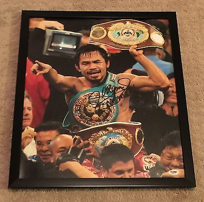 Manny Pacquiao Signed 16x20 Boxing Photo FRAMED PSA/DNA Autograph COA Sticker
