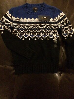 NWT Polo Ralph Lauren Nordic Sweater Boys Size Small 8 Blue White MSRP $95.00