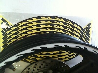 """New Motorcycle Motorbike  Black Fluorescent Flame Wheel Decal  Stripes 16-19"""""""