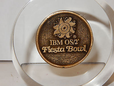 Acrylic Paperweight With IBM OS/2 Fiesta Bowl / Bank One 1994 Coin Football