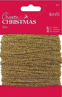 Docrafts CREATE CHRISTMAS ~ Sparkly Gold Trim ~ 20m