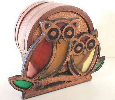 Vintage Retro - Owl Coaster Set - Cast Iron Copper Stained Glass Look