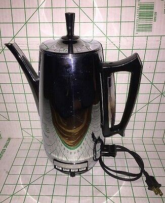 Westinghouse Pressure Flo 10 Cup Stainless Steel Percolator Coffee Pot Maker VTG