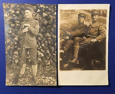 2 Ww1 Era Military Photo Postcards Soldiers With Rifle And Automobile Rppc