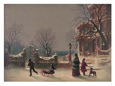 The First Snow Chistmas wall art print poster 12x18 Children playing sled dog