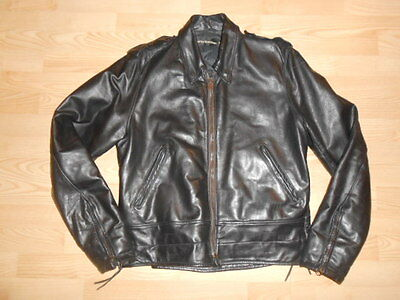 Vtg HARLEY DAVIDSON Police Cop Issue USA Made Leather MOTORCYCLE JACKET 40 Tall