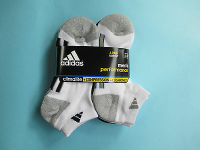 Cheapest Brand New Adidas Men's Performance Low Cut White Socks 6 Pair Climalite