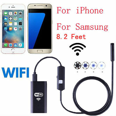 6LED Waterproof WiFI Borescope Inspection Endoscope Snake Tube Camera For iPhone