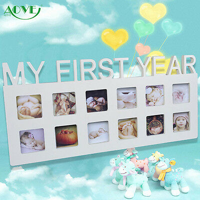 Baby MY FIRST YEAR Photo Frame Multi PICTURE DISPLAY 12 Months WHITE Wood
