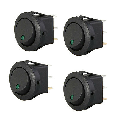 4 Mini Round Green LED Rocker Indicator Switch 3 Pin On-Off 12V DC ZH