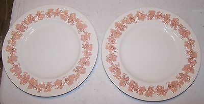 Rare Wedgwood Queensware Pink on Cream Dinner Plate - Set of 2