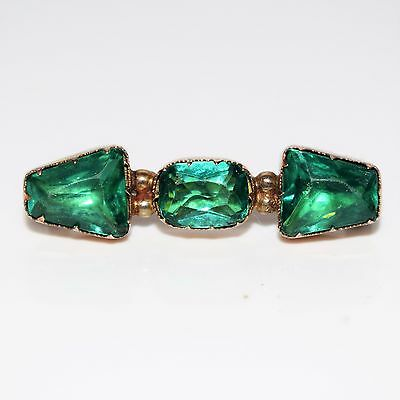 Amazing Georgian Emerald Paste 9ct Rose Gold Brooch