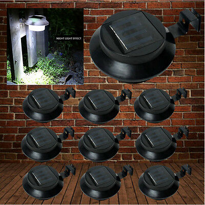 10x 3 LED Black Solar Bracket Fence Gutter Lights Outdoor Garden Wall Path Lamp