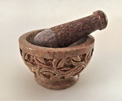 """Soapstone Mortar and Pestle  2.5""""H x 4""""W"""